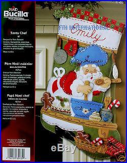 Bucilla Santa Chef 18 Felt Christmas Stocking Kit #85435 Baking Gingerbread