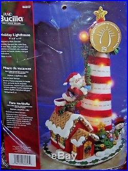Bucilla Santa HOLIDAY LIGHTHOUSE Felt Christmas Centerpiece KitLighted RARE LTD