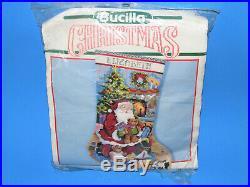Bucilla Santas Visit Felt Christmas Stocking Kit 1990 18 Needlepoint 60702