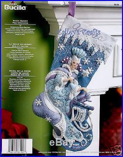 Bucilla Snow Queen 18 Felt Christmas Stocking Kit #86109 Sleigh, Blue & White
