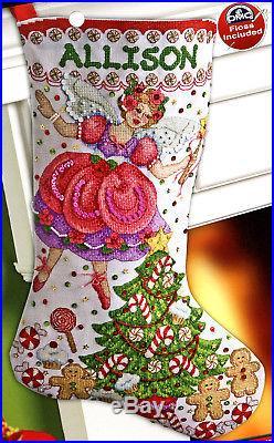 Bucilla Sugar Plum Fairy 18 Christmas Stocking Counted Cross Stitch Kit #86412