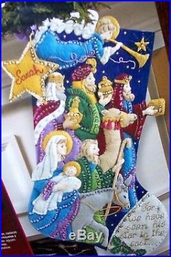 Bucilla THE PROCESSION Felt Christmas Stocking Kit-RARE Nativity Jesus NEW F. D