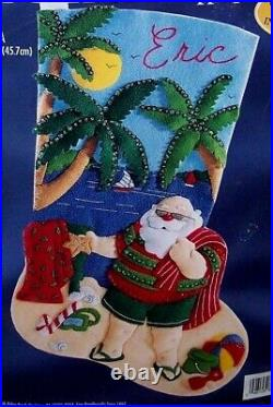 Bucilla TROPICAL SANTA Felt Christmas Stocking Kit Vintage Beach Sterilized 18