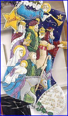 Bucilla The Procession Christmas Nativity Manger Star Felt Stocking Kit 86055
