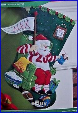 Bucilla ULTIMATE FAN FOOTBALL SANTA Felt Christmas Stocking Kit OOP 18 NEW FD