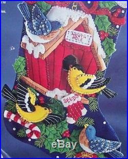 Bucilla WINTER BIRDS Felt Christmas Stocking Kit RARE Vintage 83955 Sterilized