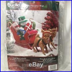 Bucilla WINTER WONDERLAND SLEIGH Snowman Reindeer Felt Centerpiece Kit Sealed