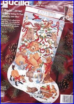 Bucilla Wild Life Christmas Bear Moose Counted Needlepoint Stocking Kit 60738