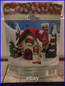 Bucilla-mary Engelbrett Mary's Snow Cottage #86162 Felt Xmas Kit, New-sealed