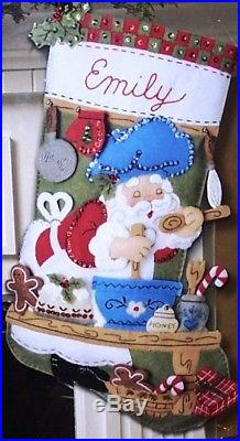Bucilla's CHEF SANTA BAKING Felt Christmas Stocking Kit OOP Original18 RARE