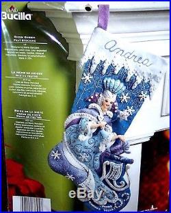 BucillaFROZEN SNOW QUEEN Felt Christmas Stocking Kit Fairy Princess Blue White