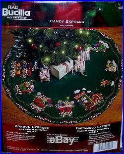 CANDY EXPRESS TRAIN Felt Christmas Tree Skirt Kit BucillaOriginal FactoryDirect