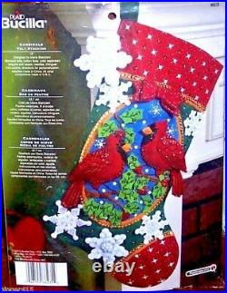 CARDINALS Bucilla Birds Felt Christmas Stocking Kit Factory Direct 18 OOP