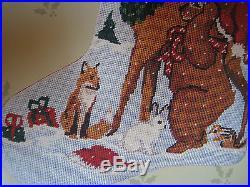 Candamar Christmas Needlepoint Stocking Holiday Craft Kit, ANIMALS AND BIRD, 30521