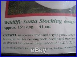Christmas Bucilla Crewel Stitchery Stocking KIT, WILDLIFE SANTA, 8091, Himsworth, 18