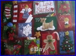 Christmas Bucilla Felt Applique Holiday ADVENT Calendar Kit, HOLLY DAYS, 85265, NIP