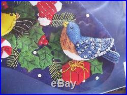 Christmas Bucilla Holiday STOCKING FELT Applique Kit, WINTER BIRDS, House, 83955,18