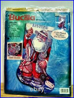 Christmas Bucilla Needlepoint Holiday Stocking Kit, FISHING SANTA, 60782