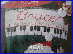 Christmas Bucilla STOCKING FELT Applique Holiday Kit, ROCK & ROLL SANTA, 84587,18