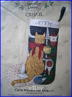 Christmas Candamar Crewel Stitchery Stocking KIT, CAT IN WINDOW, 40207, Size 17