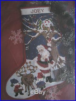 Christmas Candamar Needlepoint Stocking Kit, TREE TIME, Santa House, Elf, 30741,17