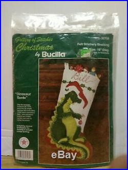 Christmas DINOSAUR SANTA Bucilla Stocking Felt Applique Kit, 32708