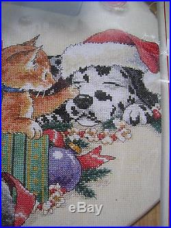 Christmas Dimensions Counted Cross Tree Skirt KIT, FRISKY FRIENDS, Dog, Cat, 8743,45