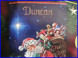 Christmas Dimensions GOLD Collection Counted Stocking KIT, ROOFTOP SANTA, 8528,16
