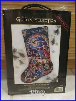 Christmas Dimensions GOLD Counted Cross Stocking KIT, MUST BE ST. NICK 8567,16