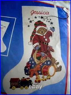Christmas Dimensions Holiday Crewel Stitchery Stocking KIT, SANTA BEAR, 8058, NIP