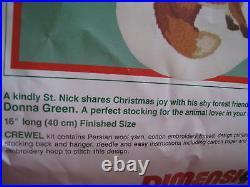 Christmas Dimensions Holiday Crewel Stitchery Stocking KIT, WOODLAND SANTA, 8069