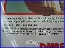 Christmas Dimensions Holiday Needlepoint Stocking Kit, SANTA'S GIFTS, Green, 9069