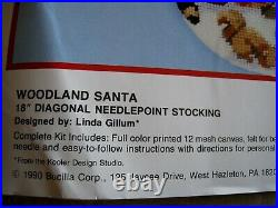 Christmas Holiday Bucilla Needlepoint Stocking Kit, WOODLAND SANTA, 60701, Gillum