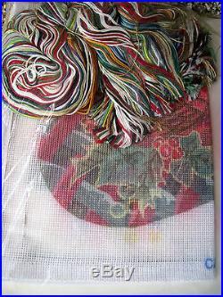 Christmas Holiday Candamar Needlepoint Stocking Kit, CARDINAL AND CHURCH, #30788