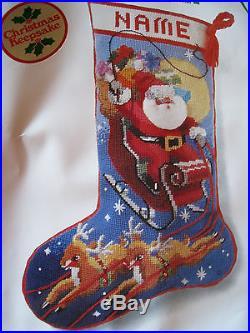 Christmas Sunset Needlepoint Holiday Stocking Kit, DASH AWAY ALL, Gerrish, 6021,18