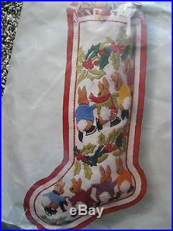 Columbia Minerva Christmas Crewel Stitchery Stocking KIT, SKATING BUNNIES, 7885