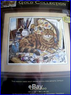 Counted Cross Dimensions GOLD COLLECTION Picture KIT, LEONARDO, 35164, Cat, USA, Rare