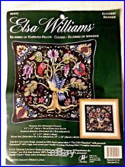 Crewel Embroidery Kit Elsa Williams Rare Bluebird of Happiness Pillow by LeClair