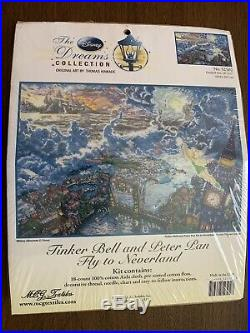 DISNEY DREAMS THOMAS KINKADE TINKERBELL & PETER PAN CROSS STITCH KIT 16 x 12