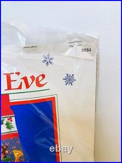 Dimensions 1987 9054 Christmas Eve Needlepoint Stocking Kit 16 Open NO FELT