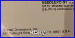 Dimensions 9054 Needlepoint Christmas Eve Stocking Kit Santa Dog Toys Vintage