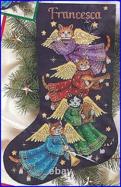 Dimensions Angel Kitty Cat Flute Harp Christmas Cross Stitch Stocking Kit 8485 E