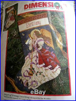 Dimensions Christmas Holiday Needlepoint Stocking Kit, ANGEL OF TIDINGS, 9105,16