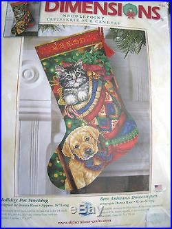Dimensions Christmas Needlepoint Stocking Craft Kit, HOLIDAY PET, 9132, Race, 16
