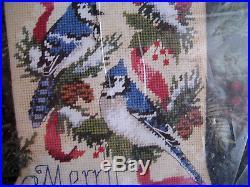 Dimensions Christmas Needlepoint Stocking Kit, BLUE JAYS, RIBBON & PINE, Birds, 9091