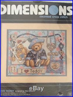 Dimensions Counted Cross Stitch Kit I LOVE TEDDY 3863 NIP 1997