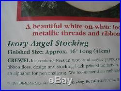 Dimensions Crewel Stitchery Christmas Holiday Stocking KIT, IVORY ANGEL, 8087, NIP
