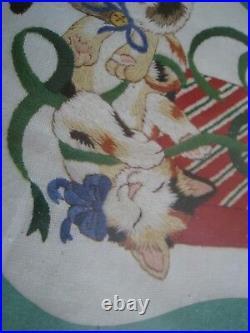 Dimensions Crewel Stitchery Christmas Stocking KIT, THREE LITTLE KITTENS, 8071,16