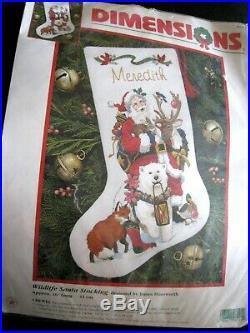 Dimensions Crewel Stitchery Christmas Stocking KIT, WILDLIFE SANTA, 8091, Himsworth
