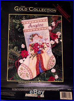 Dimensions Gold Collection 8479 Victorian Santa Cross Stitch Stocking Kit NIP